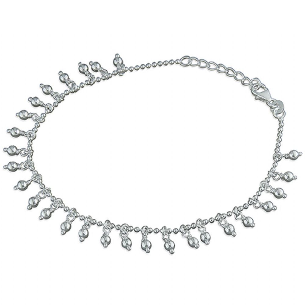 snake bling chain anklet twisted srn jewelry beaded silver sterling chaine